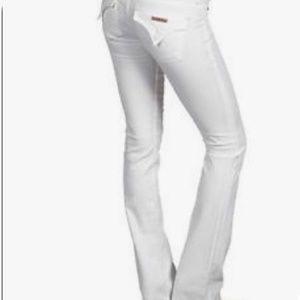 {Hudson} White boot cut jeans